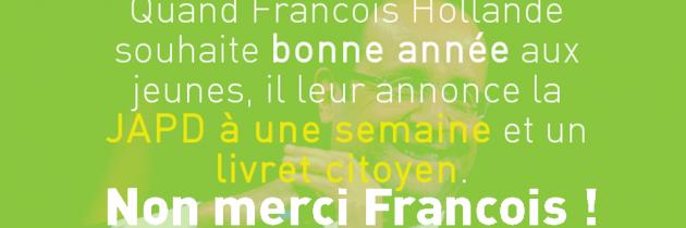 Les Jeunes Écologistes répondent aux vœux à la jeunesse de François Hollande.